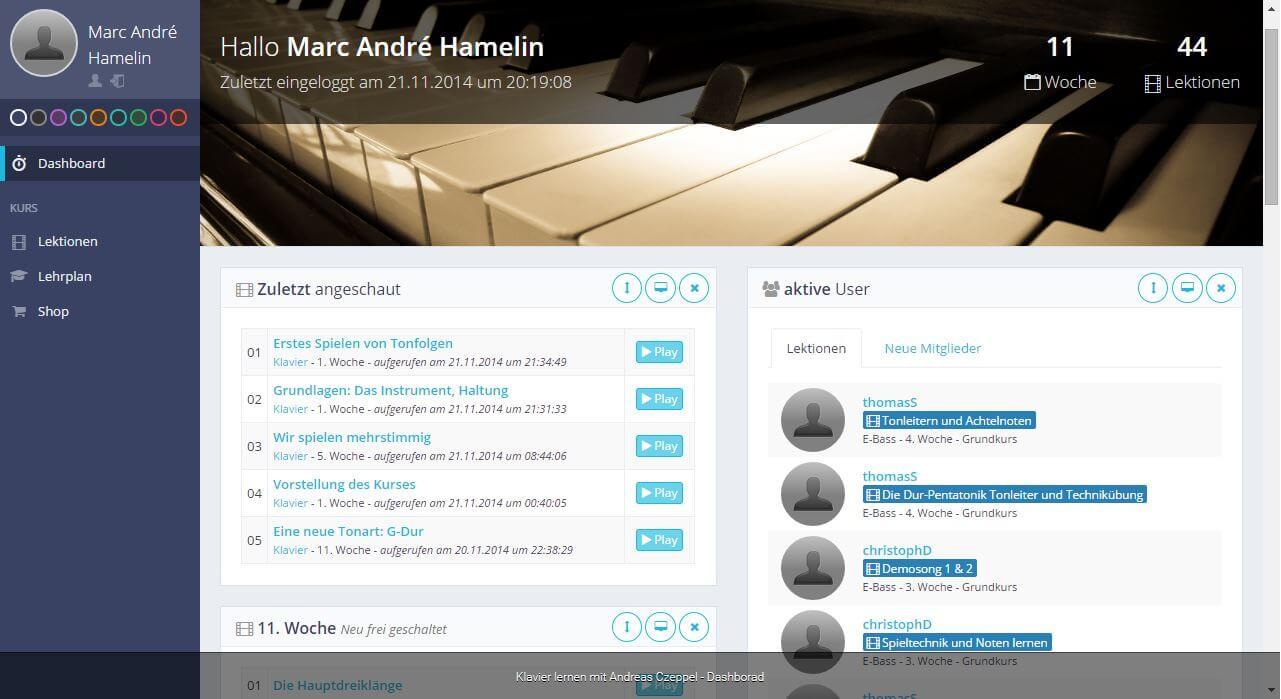 Das Dashboard vom Online Klavier - und Keyboardkurs